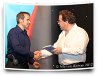 Mark on stage with Nigel Risner